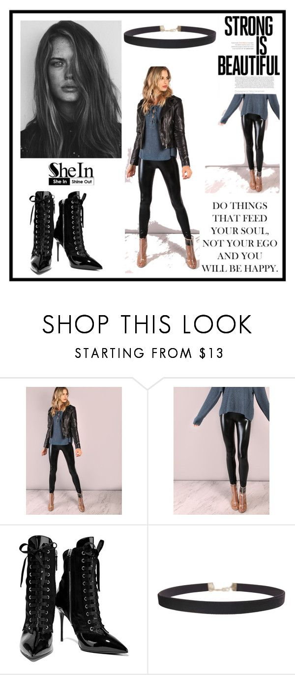 """""""SheIn"""" by buducnost ❤ liked on Polyvore featuring GE, Giuseppe Zanotti and Humble Chic"""