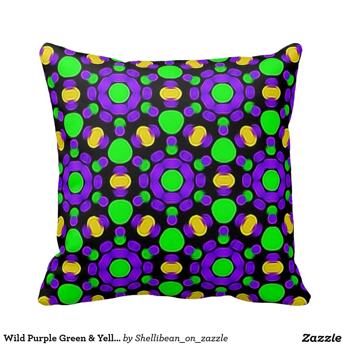 Wild purple green u yellow mosaic design throw pillow the zazzle