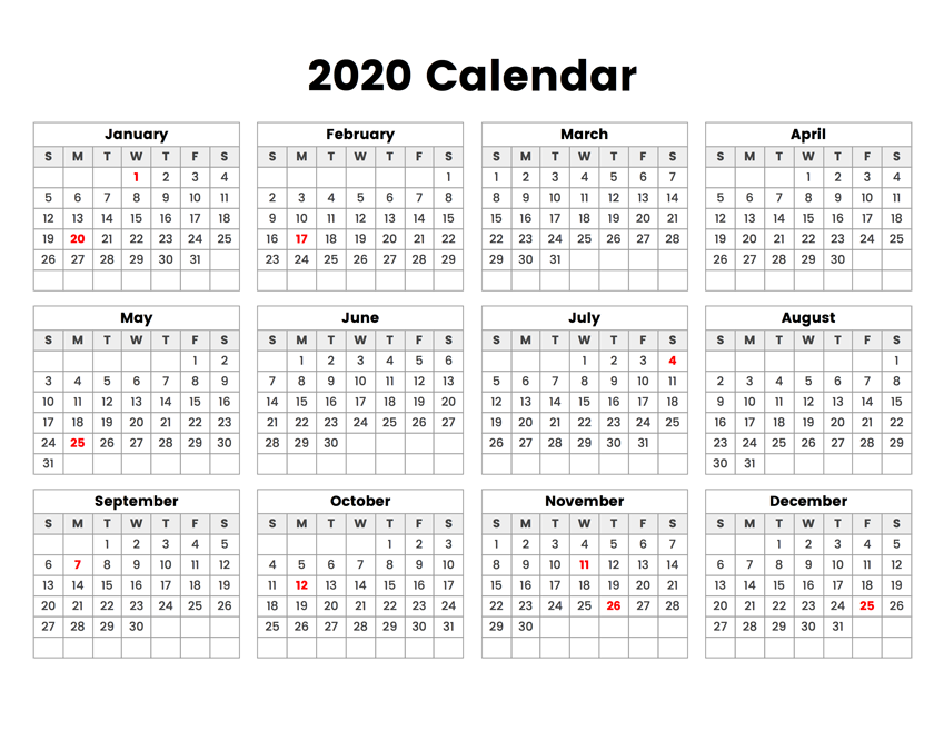 Free Printable 2020 Calendar One Page Template 12 Month Printable Calendar Calendar Template All Year Calendar Calendar Printables