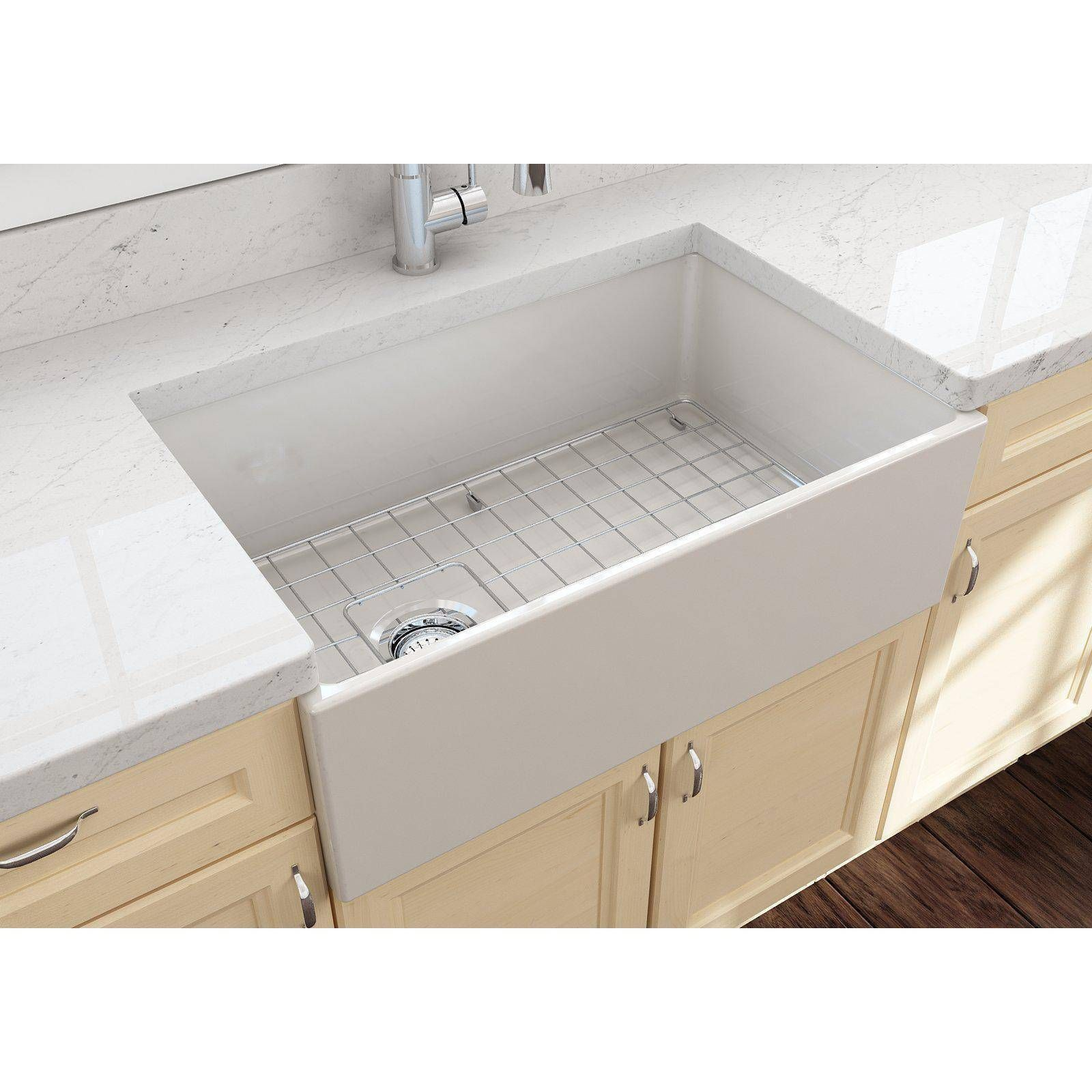 Bocchi Contempo 30 White Fireclay Single Bowl Farmhouse Sink W