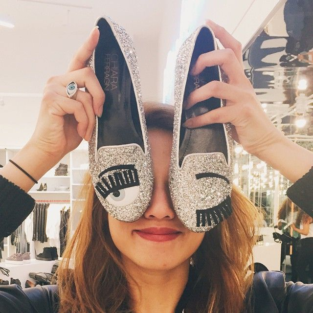 Yeyen with the Chiara Ferragni Winky Face Glitter Flat || Get the flats: http://www.nastygal.com/product/chiara-ferragni-winky-face-glitter-flat?utm_source=pinterest&utm_medium=smm&utm_term=ngdib&utm_content=omg_shoes&utm_campaign=pinterest_nastygal
