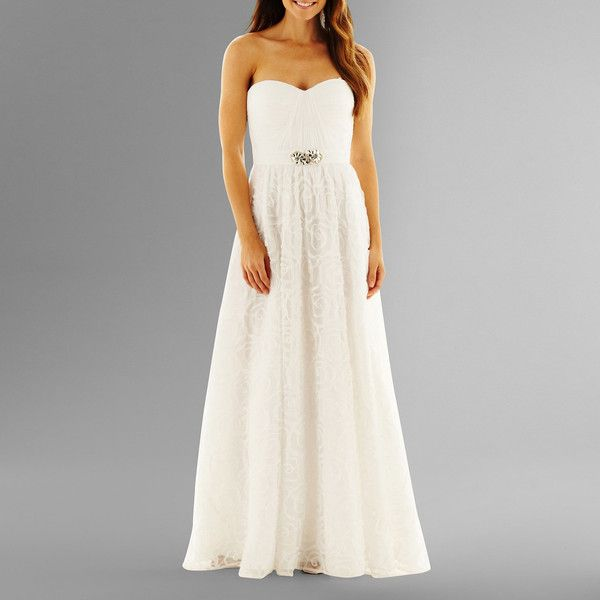 Simply Liliana Strapless Rosette Wedding Gown White ($60