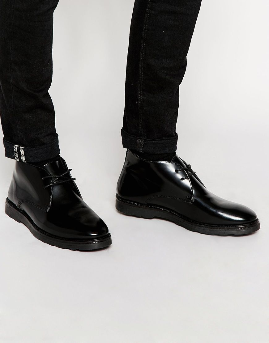 ASOS Chukka Boots in Black Leather at asos.com