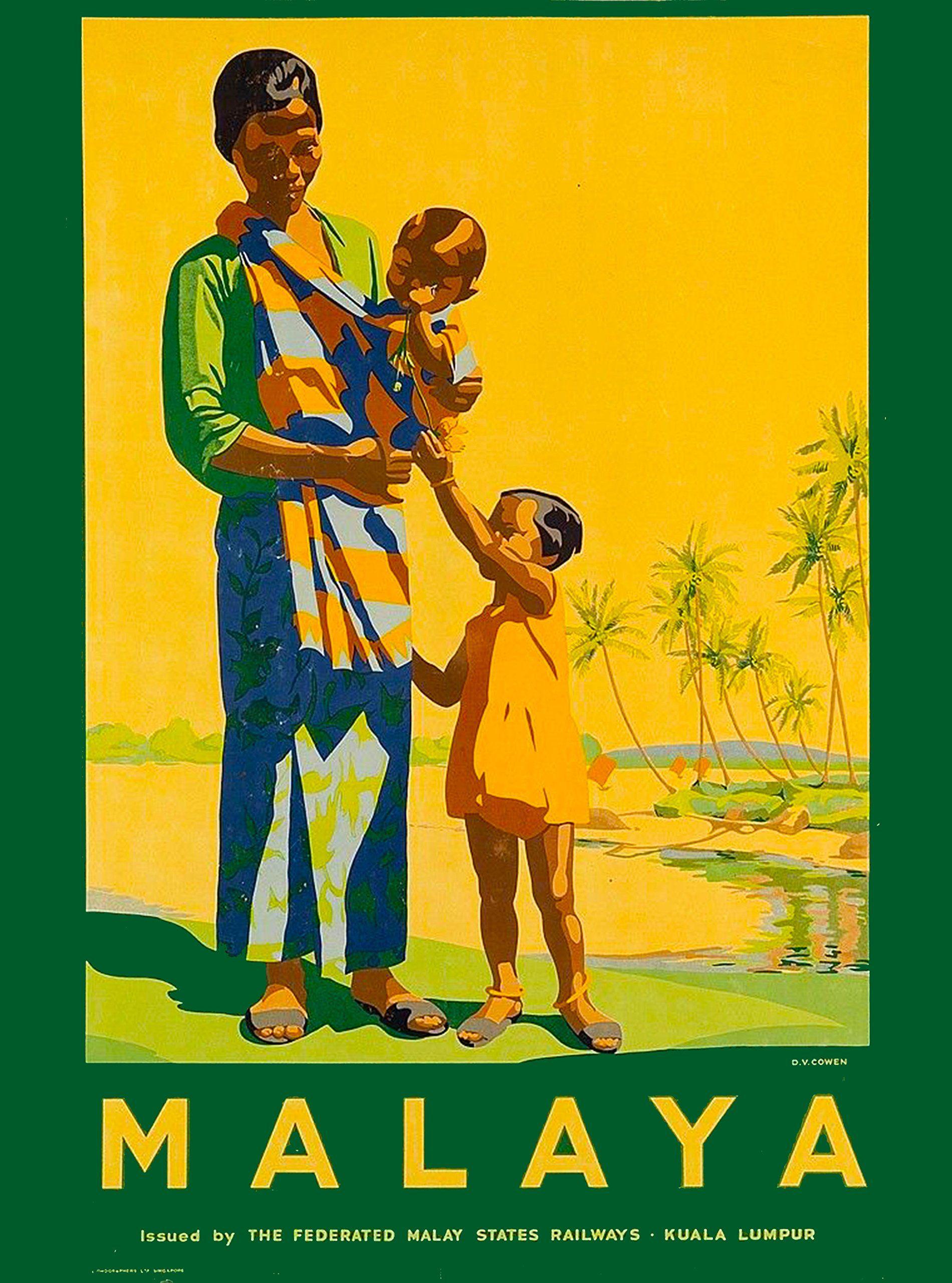 Malaya Malaysia Vintage Travel Advertisement Art Poster