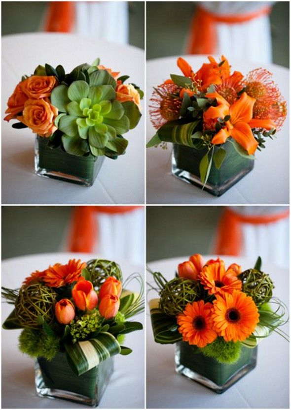 Grouped Orange Gerberas Tiger Lillies Tulips Roses And Pin Cushions Great Fo Orange Wedding Centerpieces Flower Arrangements Succulent Wedding Centerpieces