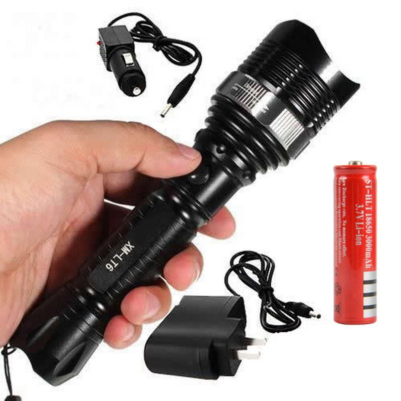 1800Lm 12W Zoomable Rechargeable Flashlight XM-L T6 LED by 18650 Torch Light Lantern Outdoor Hiking Tool L0376 T20
