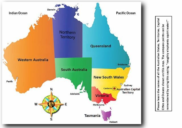Map Of Australia Showing States And Capital Cities.Map Of Australia With States And Capital Cities