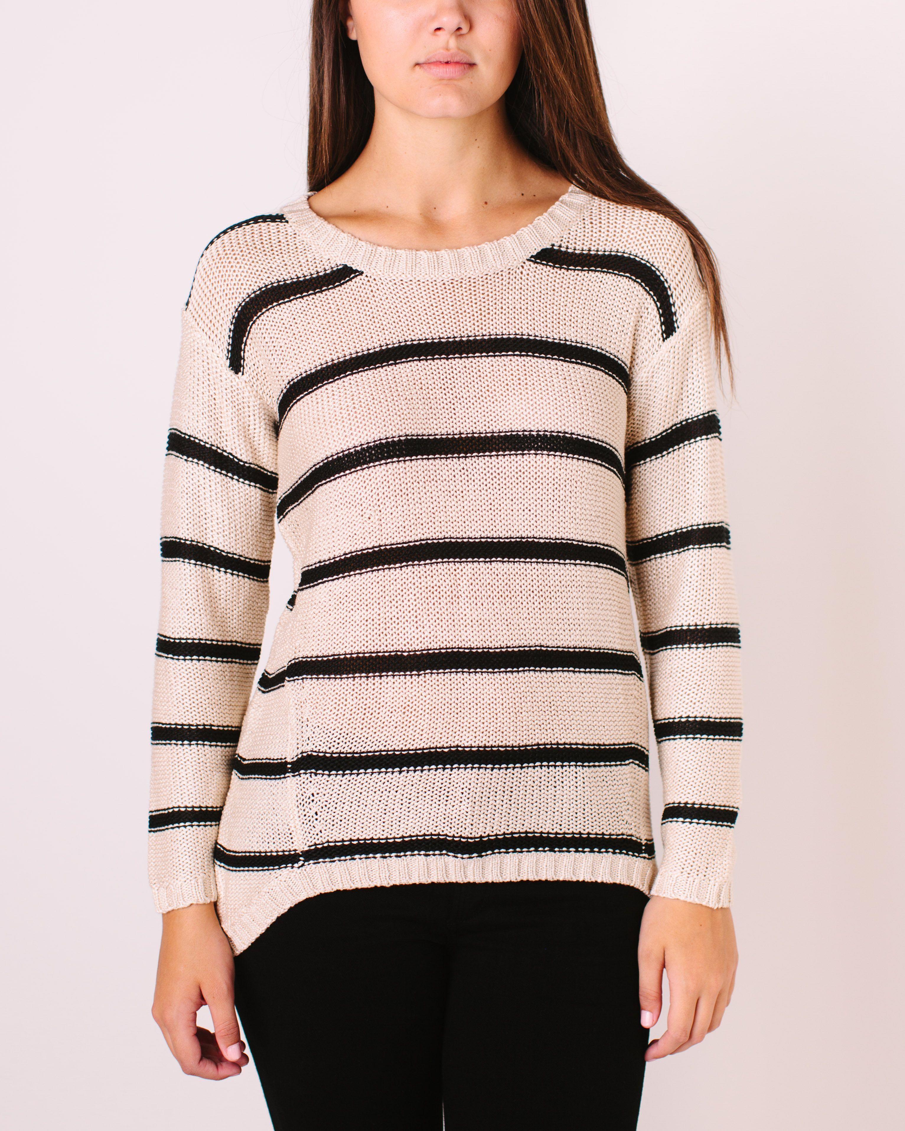 Winona Knitted Sweater- Ivory/Black