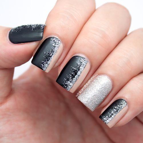 Glitter Nail Art Black And Silver Easy Nail Art Designs Nail Art
