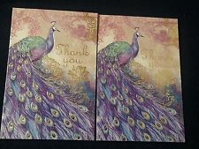 Set of 2 - Punch Studio GOLD EMBOSSED-purple PEACOCK thank you card-MATCH ENV