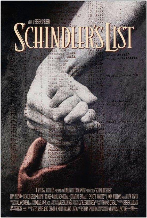 SCHINDLER'S LIST - 1993 - original 27x40 rolled Movie Poster -Steven Spielberg, Liam Neeson