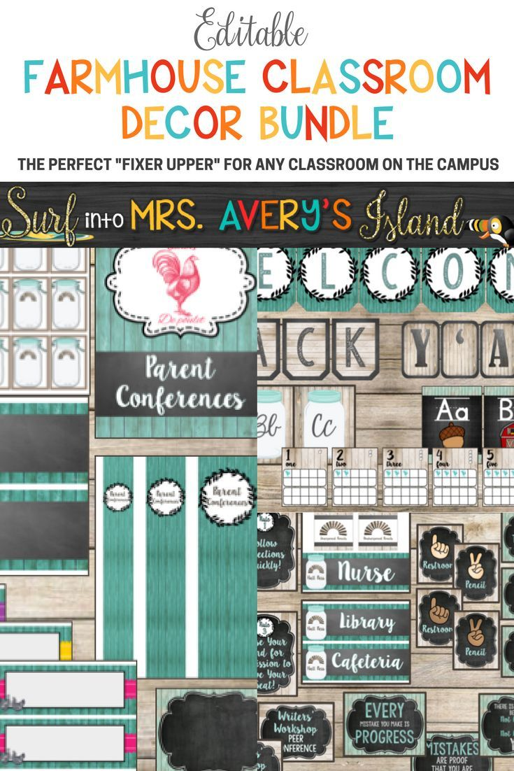 "This editable Farmhouse Classroom Decor Bundle is full of your back to school printables to help keep you organized throughout the school year!  If you are seeking new ideas on creating a farmhouse theme for your classroom, click the link and check out this shabby chic bundle!  There's no doubt Chip and Joanna would approve of your classroom ""Fixer Upper"" with this bundle of shabby shiplap and chalkboard backgrounds... natural woods and windmills, not to mention, Mason jars and many other…"