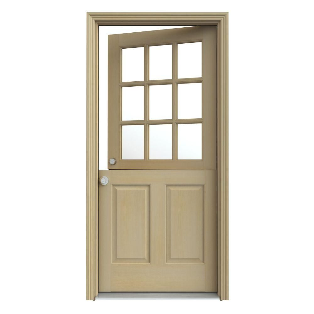 9 Lite Unfinished Dutch Fir Wood Prehung Front Door With Brickmould,  Unfinished Natural Hemlock