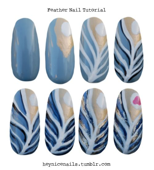 Feather Nail Step-by-Step Tutorial by Hey, Nice Nails!