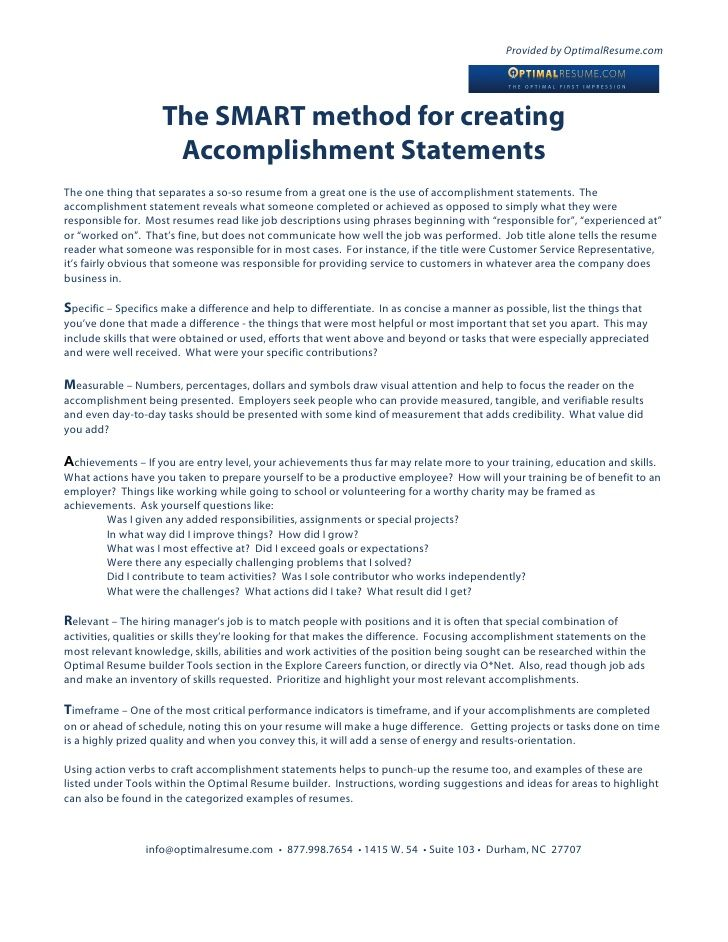Provided by OptimalResume The SMART method for creating - accomplishment statements for resume