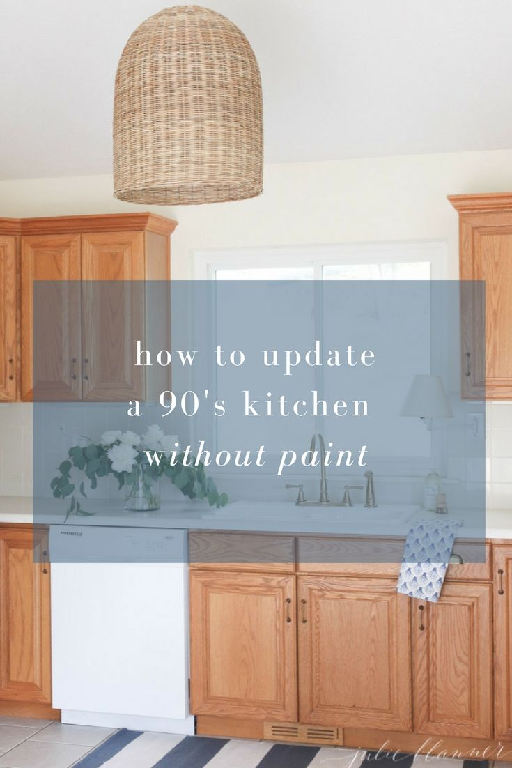 Update A Dated Kitchen Without Having To Paint The Cabinets Tips And Tricks To Make A Dated Kitchen Fe Oak Kitchen Cabinets Updating Oak Cabinets Oak Cabinets
