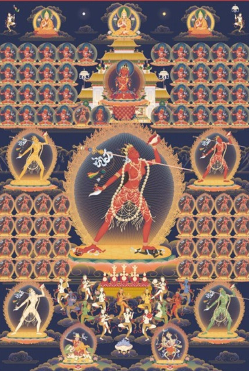 Vajrayogini surrounded by her retinue of Dakinis, and the lineage