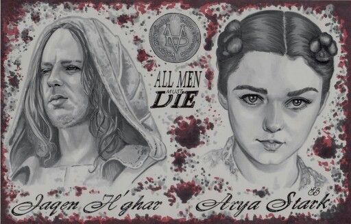 Jaqen h'ghar, Arya Stark  Drawing I did for a friend.