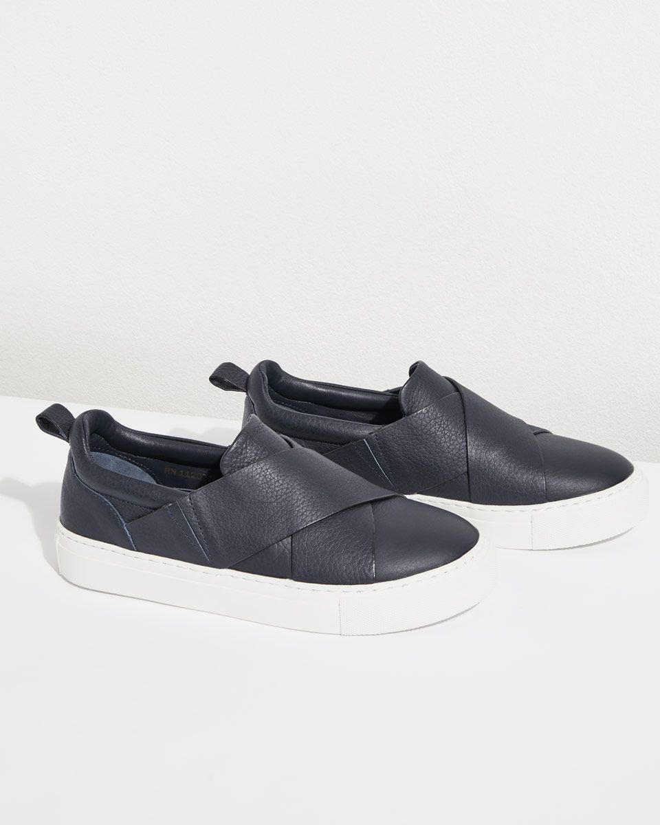 Olivia Cross Strap Leather Trainers