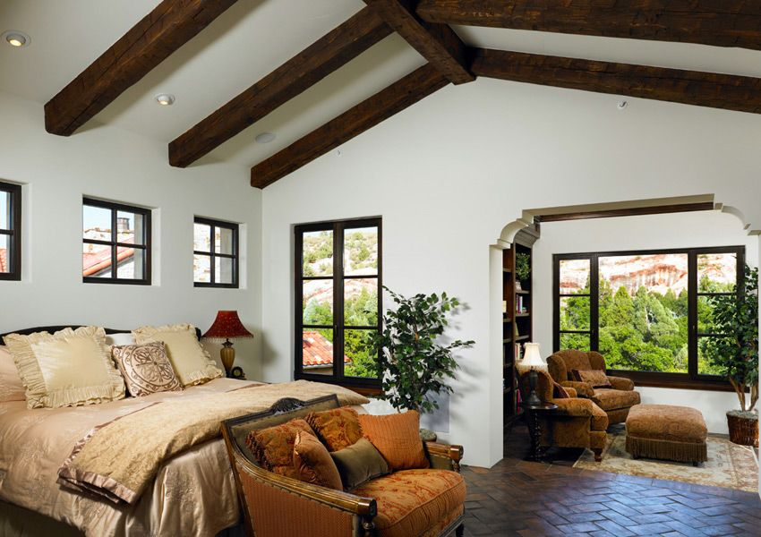 Traditional Bedroom with Roof Beams | Bedroom | Spanish style homes ...