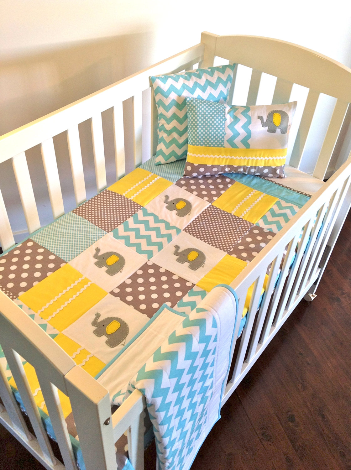 Baby crib quilts - Elephant Baby Crib Quilt And Two Cushion Covers Made After You Order
