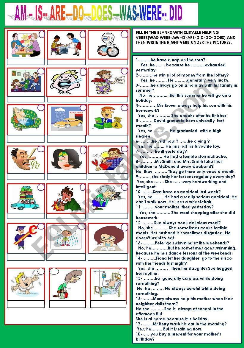 Simple And Understandable Auxilary Verbs Exercises They First Find The Right Auxilary And Then Write The Right Ver Grammar Worksheets English Idioms Worksheets