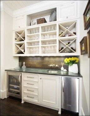 Butlers Pantry Style Home Bar Built In A Cape Cod Kitchen With Blue And White