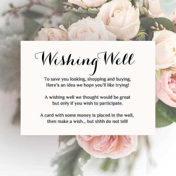Printable Wedding Wishing Well Card Any Colour Wishing Well Etsy Wishing Well Poems Wishing Well Wedding Wedding Invitation Wording Examples