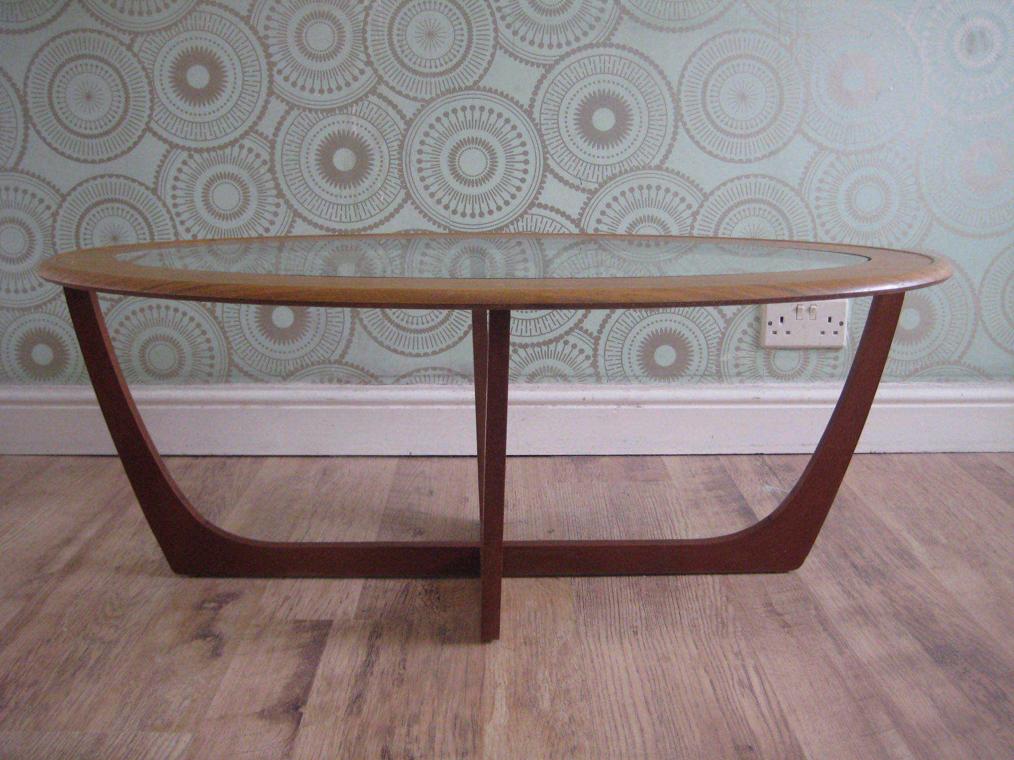 Delightful 1970s Mid Century Oval Glass Top Teak Coffee ...