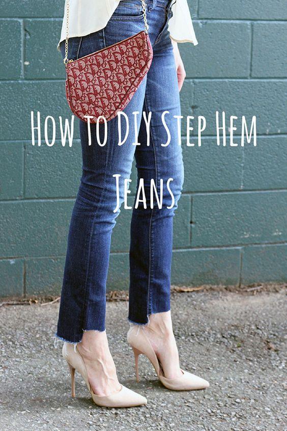 4e9d12138459 How To DIY Step Hem Jeans + Link Up