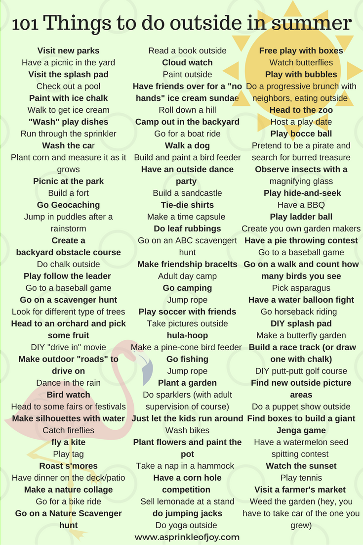 101 things to do outside this summer with your kids to beat boredom, get  moving, and have fun. Plus a free printable list!