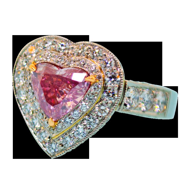 Yebbi Gongju Purple Pink Diamond Heart Shaped Diamond Ring Pink Diamond Ring