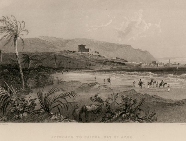Haifa, 1836.                                        .  (CARNE, John. Syria, The Holy Land, Asia Minor, &c. Illustrated. In a series of views, drawn from nature by W.H. Bartlett, William Purser, &c. First [... Second... Third] London, Fisher, Son & Co., 1836-1838).