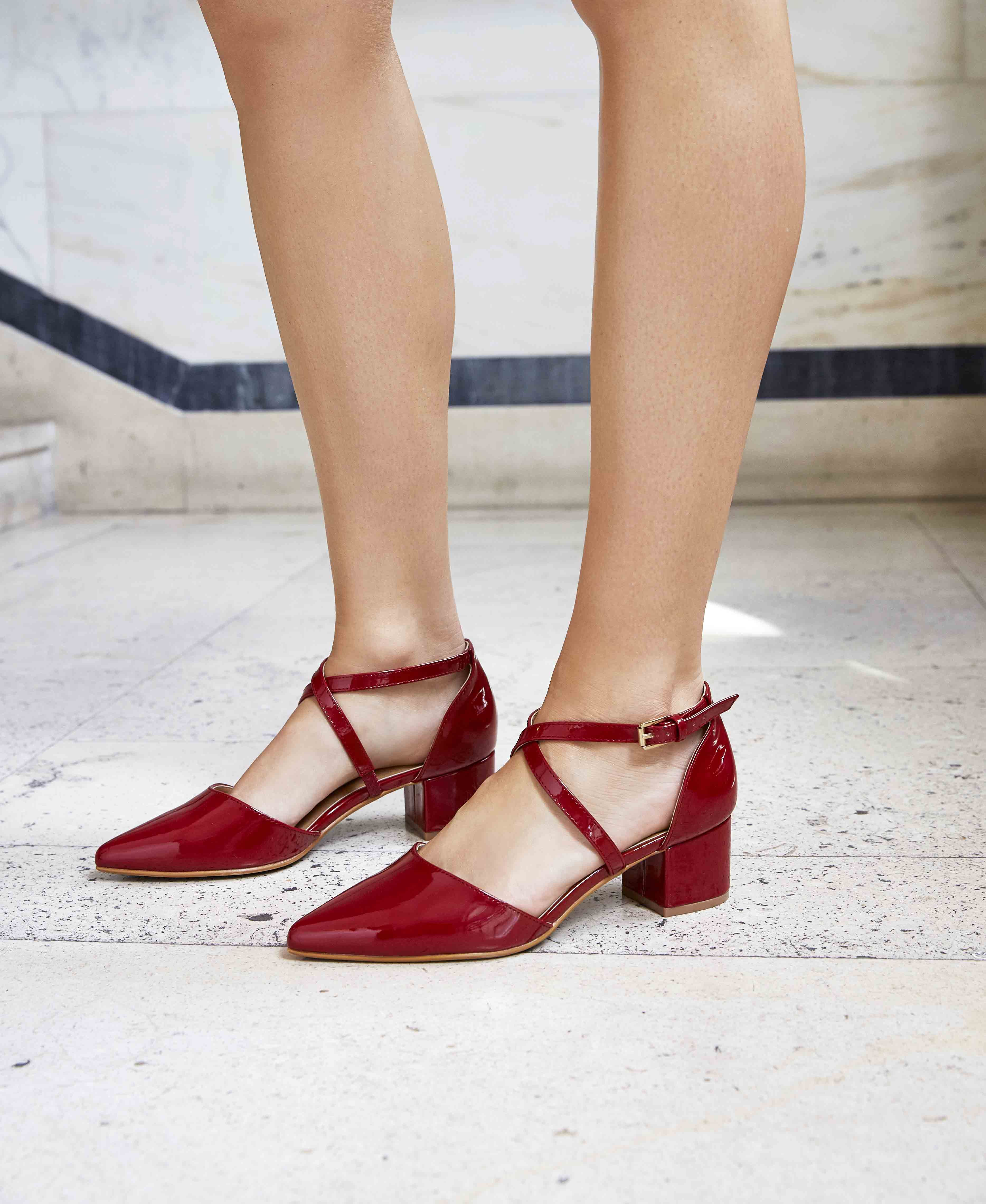 Red Patent Block Heel Sandals #ShoeLounge