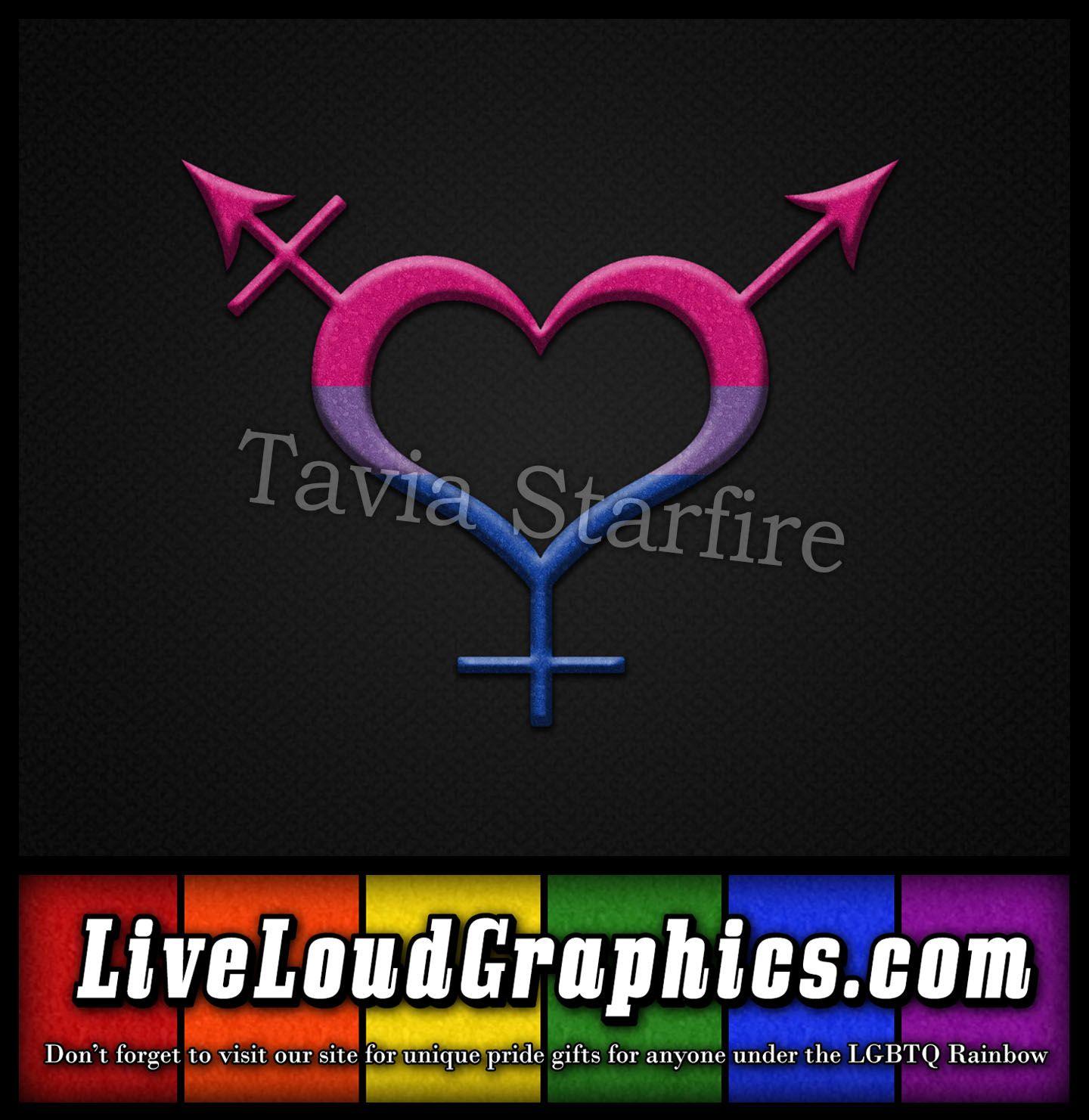 Bisexual Pride Heart Shaped Gender Neutral Symbol In Matching Pride