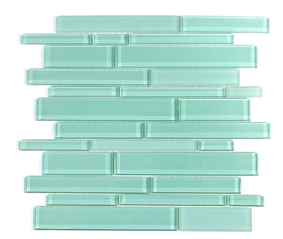 random sized glass mosaic tile in teal