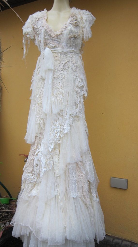 Dainty Antique Wedding Gown, with Crochet Lace and Embroidery Detail ...