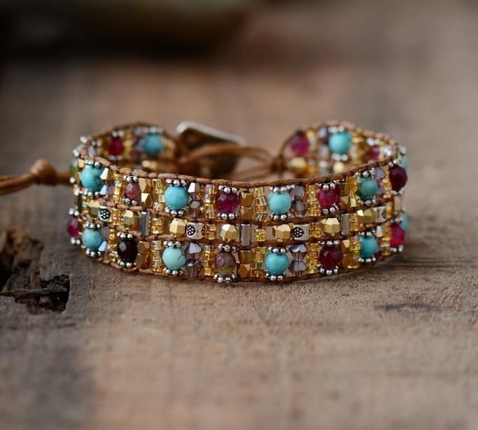 Boho Bracelets High End Natural Stones Wax Cord Wrap Bracelet Semi