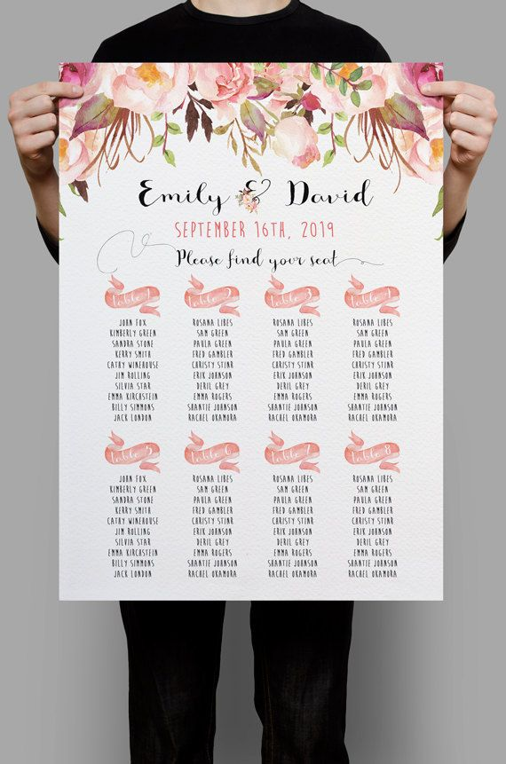 Personalized Wedding Seating Chart Table Seating plan printable Pink - seating charts for weddings