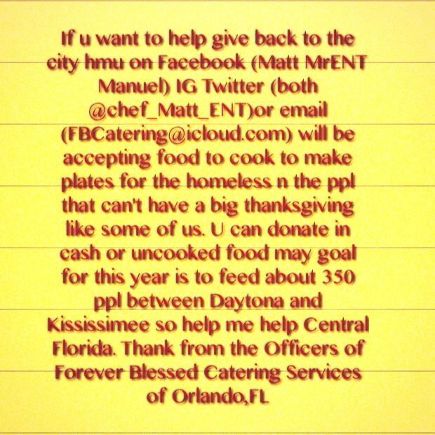 Help Forever Blessed Catering Services to help others in the Central Florida Area #CFNews13 #Orlando #Chef