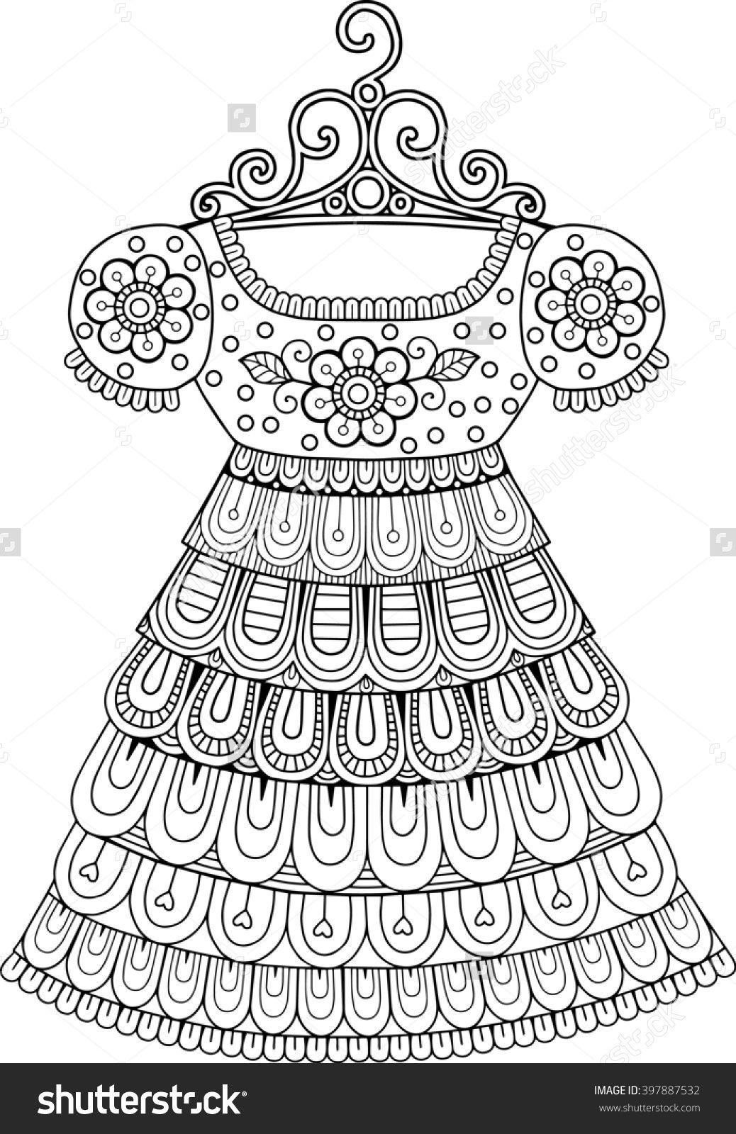 Coloring Book For Adult Vintage Dresses 397887532