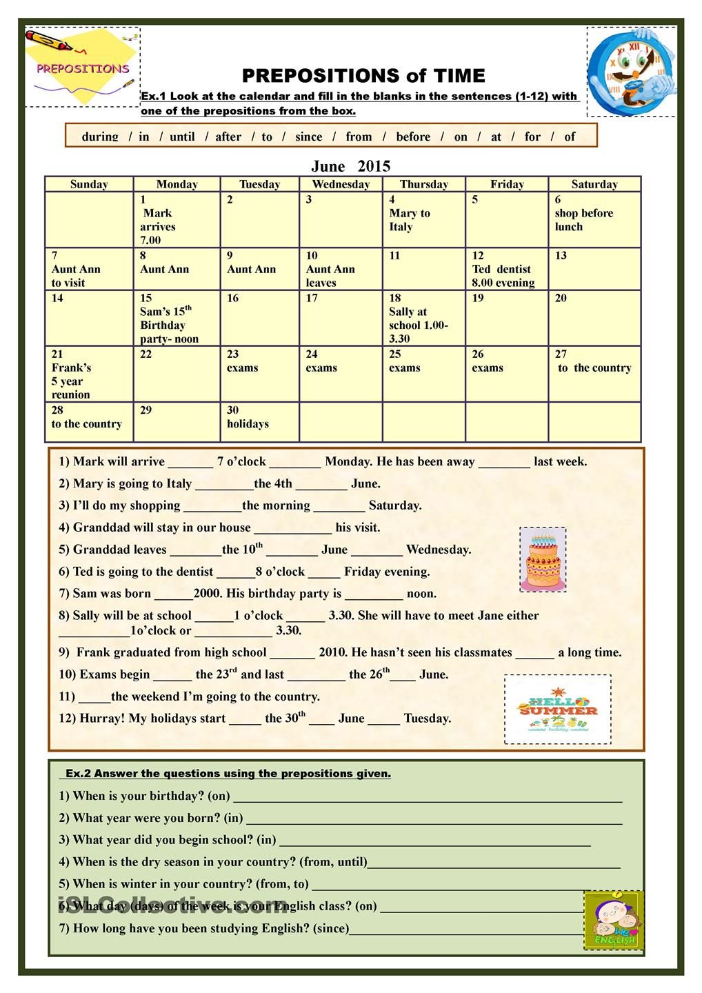 Prepositions Of Time Prepositions Prepositional Phrases Learn English