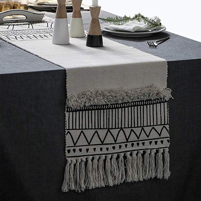 Amazon Com Kimode Moroccan Fringe Table Runner 14 X 87 In