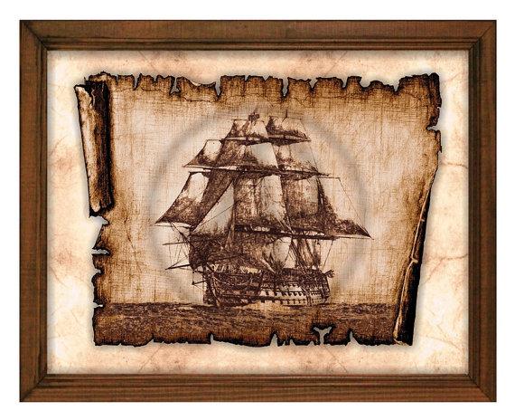 Sailing Ship Art Decor-Parchment Art,Pirate Ship Art,Decor,Wall Art ...