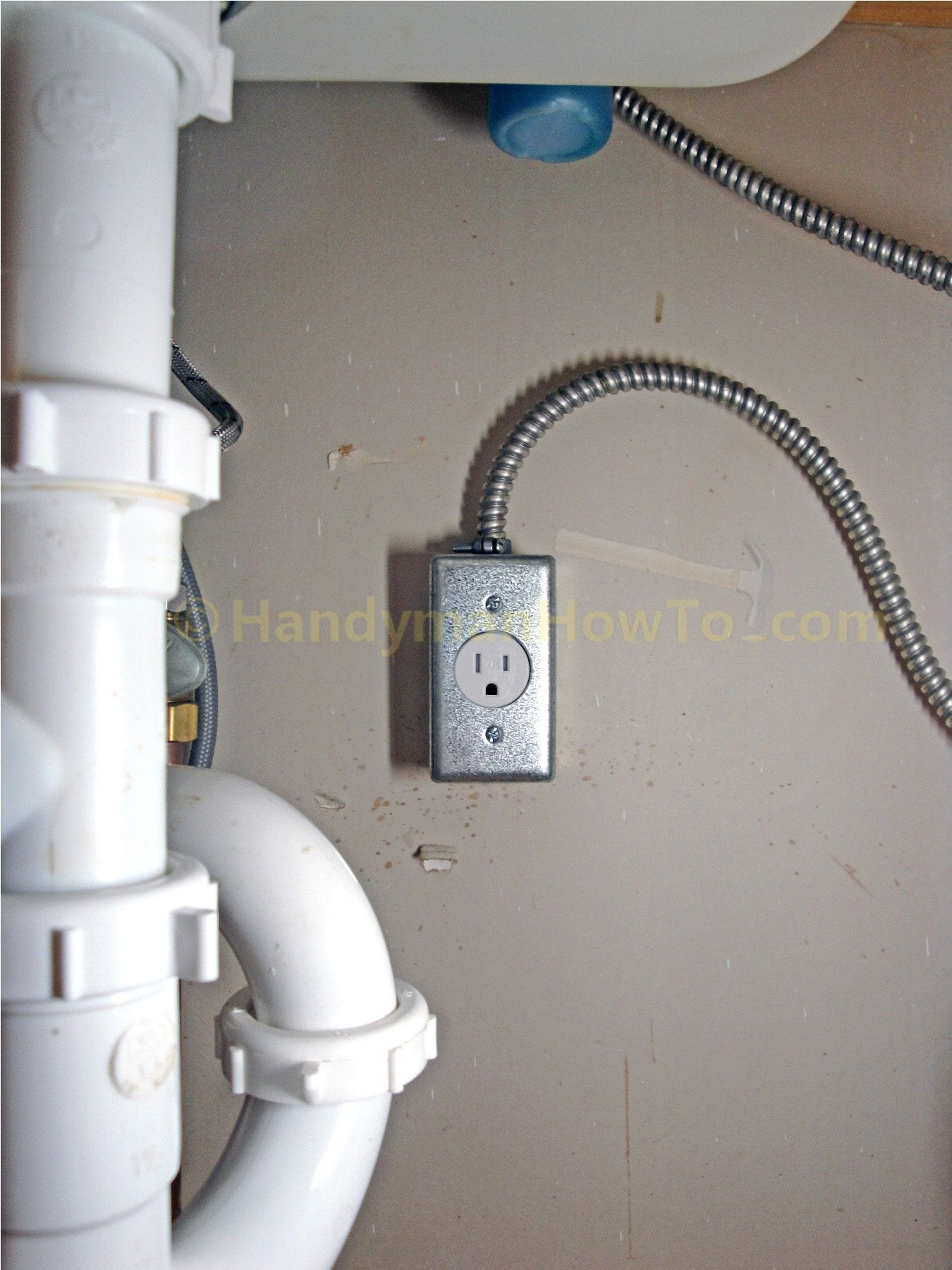 New Under Sink Garbage Disposer Electrical Outlet