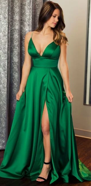Green Prom Dress with Slit, Evening Dress ,Winter Formal Dress, Pageant Dance Dresses, Graduation School Party Gown, PC0192 -   15 dress Graduation green ideas