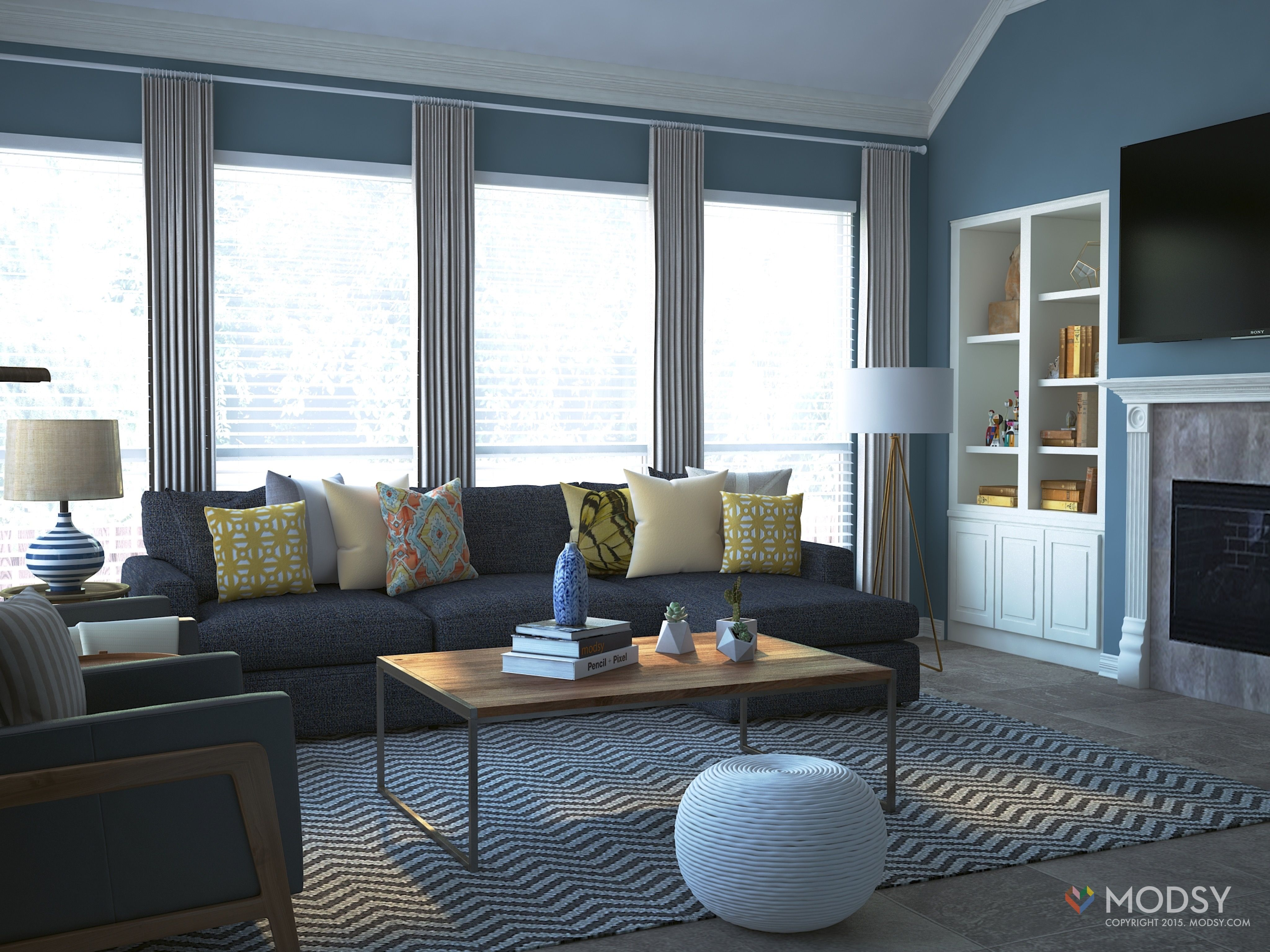 Transitional Living Room Modsy 3d Rendering Contemporary Transitional Living Room In Texas