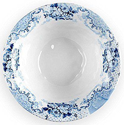Q Squared Cambridge Rose in Cobalt BPA-Free Melamine Cereal Bowl, 6-1/2 Inches, Set of 4