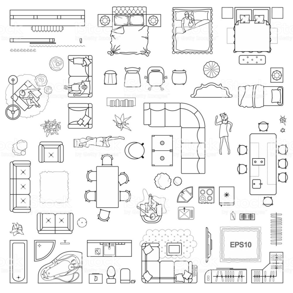Floor Plan Icons Set For Design Interior And Architectural Project Plan Sketch Architecture Design Sketch Floor Plan Sketch