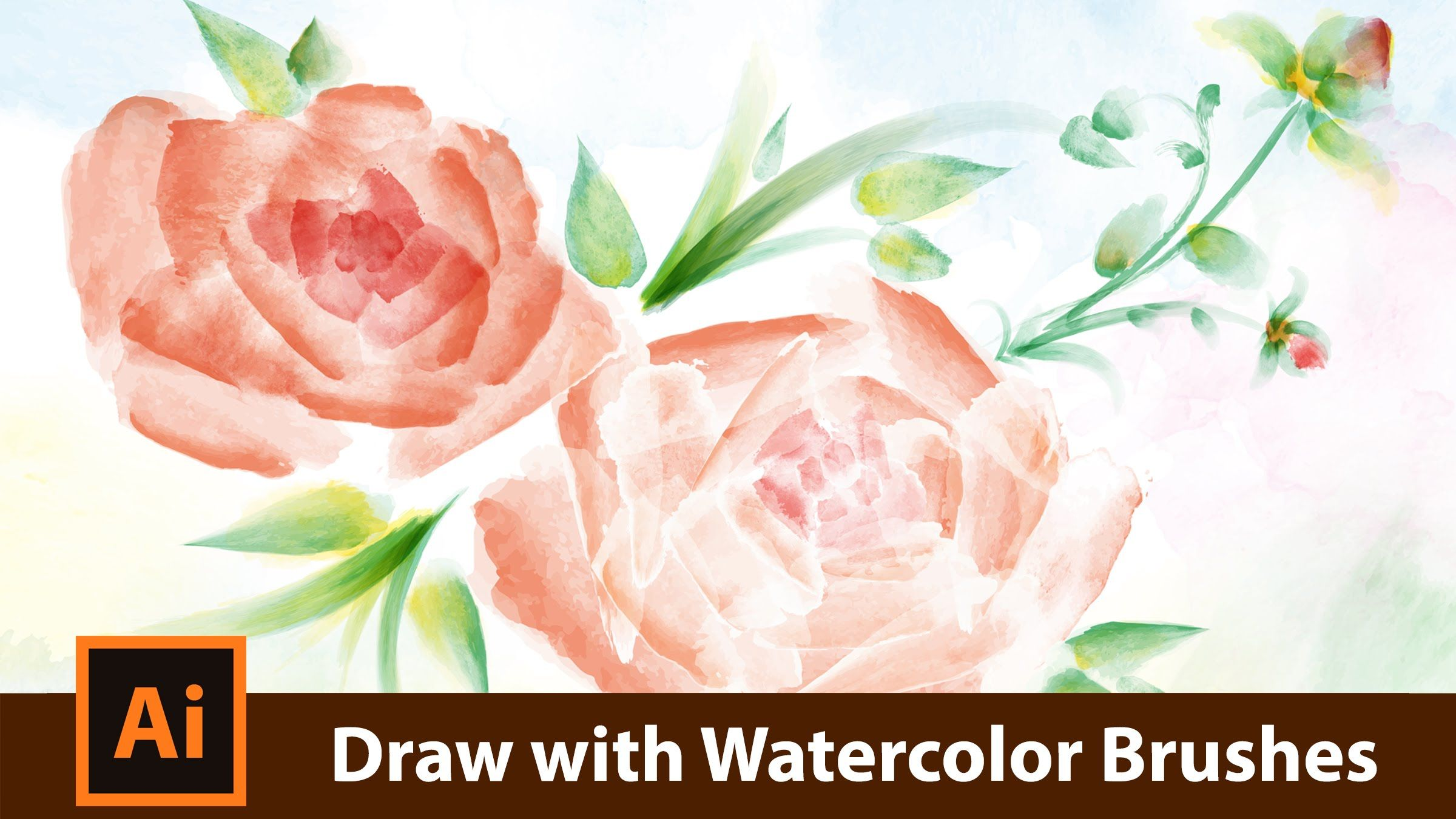 How To Draw With Watercolor Brushes In Adobe Illustrator Flower